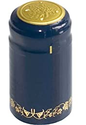 PVC Heat Shrink Capsules With Tear Tabs For Wine Bottles - 60 Count (Blue/Gold with Grapes)