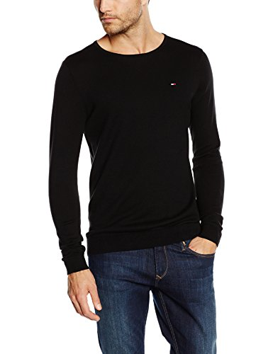 Hilfiger Denim Original Crew Neck-Felpa Uomo, Nero (TOMMY BLACK 078), large