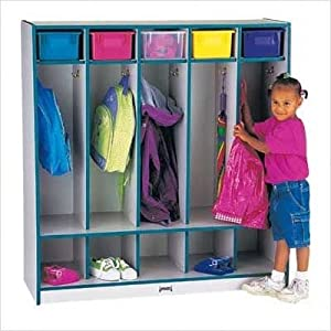 Rainbow Accents Coat Locker w/Step - 5 Sections Accents: Blue