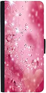 Snoogg Diamond Sparkling Heart Graphic Snap On Hard Back Leather + Pc Flip Co...