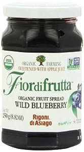 Rigoni Di Asiago Fiordifrutta Organic Fruit Spread,  Wild Blueberry,  8.82 Ounce, (Pack of 6)