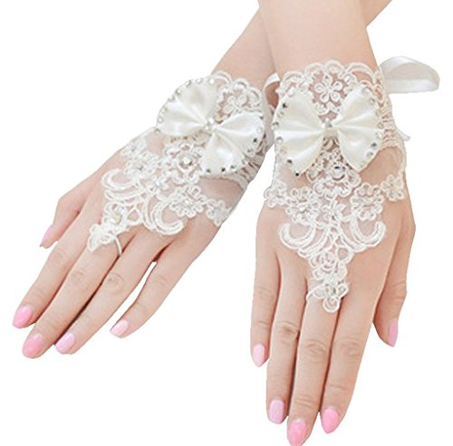 Edith qi Lace Bridal Wedding Formal Bow Fingerless Short Gloves