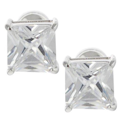 Tressa Silvertone Princess-cut Cubic Zirconia Stud Earrings