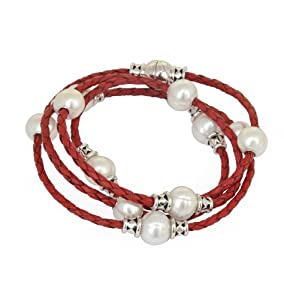 Honora Sterling Silver and Braided Red Leather Wrap Bracelet with White Freshwater Cultured Pearls LB5648WHRD