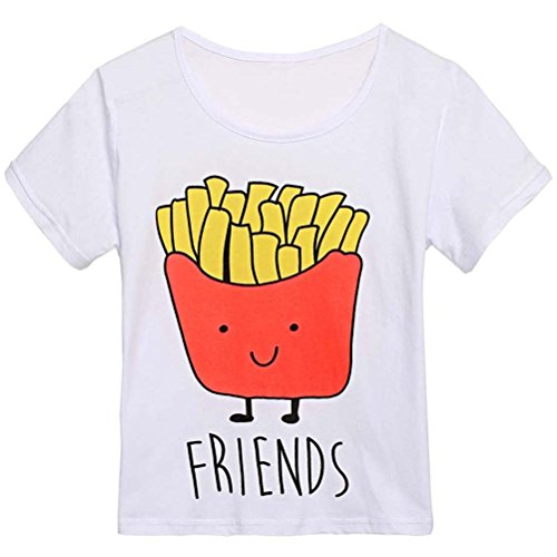 Yonala Cute Hamburger and French Fries Pattern Best Friends Short T-shirt Tops (French Fry Tshirt compare prices)