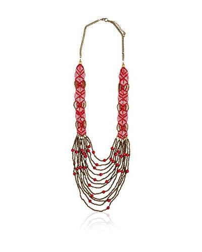 Alibey Collar largo de abalorios y resinas combinado con macramé de color Rojo