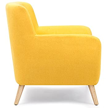 Best Choice Products Mid-Century Modern Upholstered Tufted Accent Chair (Yellow)