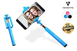 VESSATTA © Selfie Stick for iPhone & Samsung Smart Phones - Requires no charge, strudy with photo button on handle (extends 3.5 feet) Compact folding size - Multiple Colors (Blue)