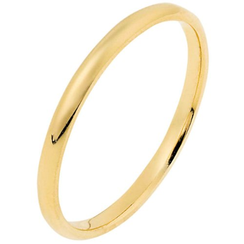 14K Yellow Gold, Light Half Round Wedding Band 2MM (sz 13)