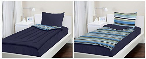Zipit Bedding Set, Navy Stripes - Twin - Zip-Up Your Sheets and Comforter Like a Sleeping Bag!