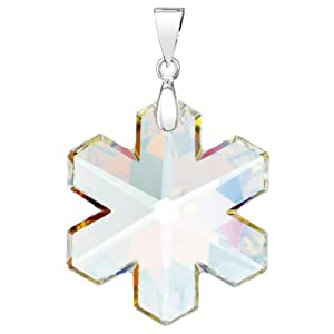 Snowflake Charm, crystal AB/silver-plated, 30 mm