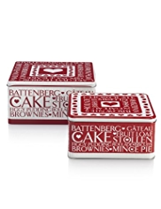 2 Christmas Words Square Cake Tins