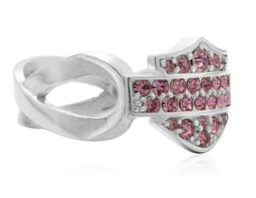 Harley-Davidson® Women's Sterling Silver Pink Crystal Label Ring. Bar & Shield Silhouette. HPR001