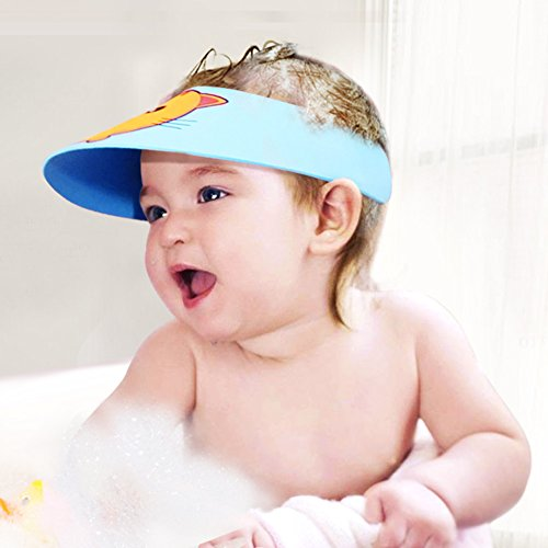 Baby Mate 2 PCS Adjustable Baby Safety Bath Cap – Waterproof Soft Baby Shower Cap – Safe Shampoo Shower Bathing Protect Soft Cap Hat – Shampoo Visor Baby Sun Hat (Pink & Blue, Snaps, 2 PCS) 3033