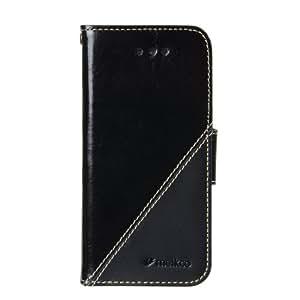 Melkco - Premium Leather Case for Apple iPhone 5C - Mix/Match Wallet Type - (Vintage Black/Black Wax Leather) - APIPONLCDW9BKITBKWX