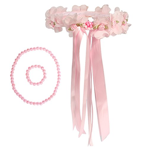 Kilofly Flower Girls Wedding Floral Wreath Headpiece + Necklace Bracelet Set