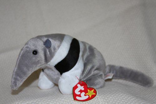 TY Teenie Beanie Babies Ants the Anteater Stuffed Animal Plush Toy - 7 inches long - Gray with Black and White Stripes