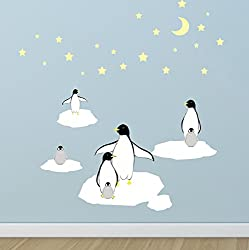 Penguin Stars Icebergs Wall Decals Kids Room Wall Decor