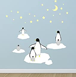 Create-A-Mural : Penguin, Stars & Icebergs Wall Decals ~Kids Room Wall Decor
