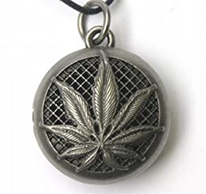 Aromatherapy Essential Oil Diffuser Locket Necklace - Hemp Leaf, Pewter Color Alloy, on adjustible Wax Cord