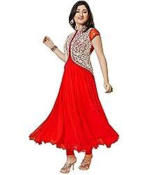 BK ENTERPRISE Women's Red Georgette Fancy Dresses(bk-907_freesize)