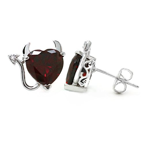 Sparkly Bride Cubic Zirconia Love Valentine Red Heart Ornate Fashion Stud Earrings (Devil Heart Earrings compare prices)