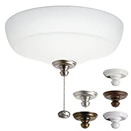 Kichler Lighting 338101MUL Universal Incandescent Large Bowl 2LT Ceiling Fan Light Kit, Satin Etched Glass Shade
