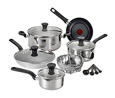 T-fal C911SE Excite Stainless Steel Dishwasher Safe / Oven Safe PFOA Free Cookware Set, 14-Piece, Silver