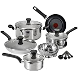 T-fal C911SE Excite Stainless Steel Dishwasher Safe PTFE-PFOA-Free Cookware Set, 14-Piece, Silver