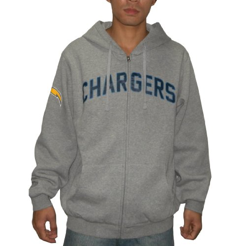 NFL San Diego Chargers Mens Heavy Weight Athletic Warm Zip-Up Hoodie / Sweatshirt Jacket (Size: L)