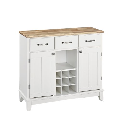 Hutch-Style Buffet- White/ Natural (Buffet Style Server compare prices)