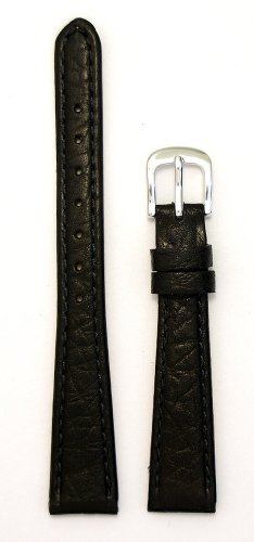Ladies' Genuine Italian Sport Leather Watchband, Color Black, Size 10mm, Watch Strap