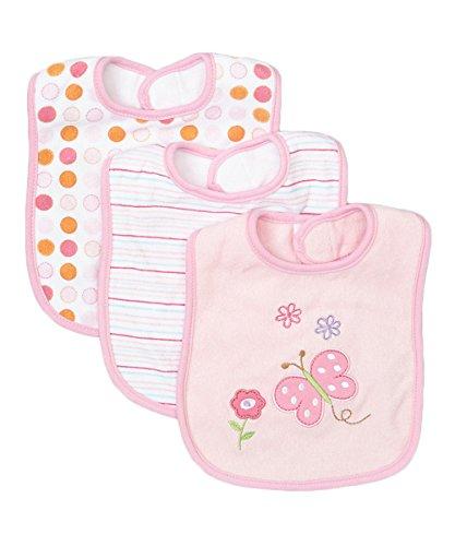 Spasilk Unisex-Baby Newborn 3 Pack Cotton Terry Feeder Bibs, Pink Butterfly 2, O/S