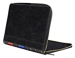 Mosiso MacBook Air and Pro 13 Case, Vintage Classic Premium PU Leather Zipped Book Sleeve Cover for MacBook Air 13 inch / MacBook Pro 13 inch (A1278),Do Not Fit For Macbook Pro Retina 13,Black