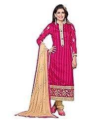 Lookslady Embroidered Magenta Bhagalpuri Silk Thread Work Semi Stitched Salwar Suit