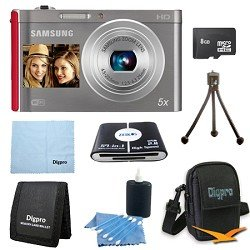 Samsung 8 GB Bundle DV300F 16 MP 5X Wi-Fi Digital Camera - Silver/Red