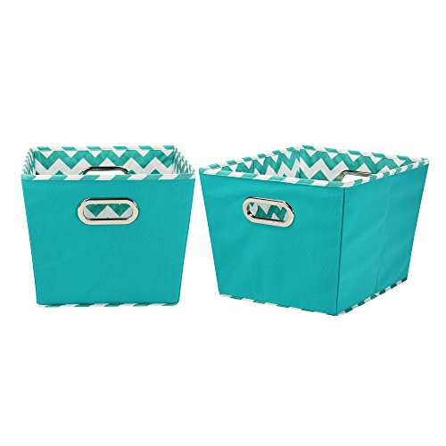 Household Essentials Medium Tapered Decorative Storage Bins, 2 Pack Set, Aqua / Chevron (Household Essentials Bin Blue compare prices)