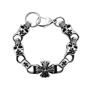 Inox Jewelry Blackened Silver Steel Greek Skull Design Bracelet For Men available at Amazon for Rs.3650