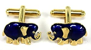 Gold Plated Blue Elephant Cufflink Set - Men's Suit Links
