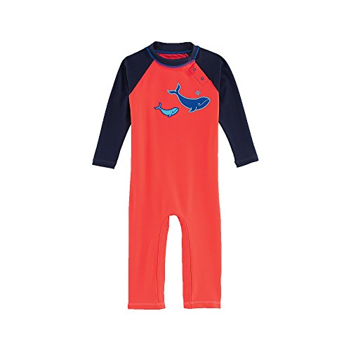 Coolibar UPF 50+ Baby Beach One Piece Swimsuit - UV Swimwear (18 - 24 Months - Red Whales)