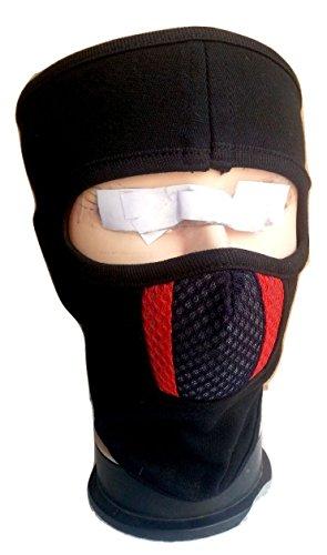 dhoom 3 D3GFMWL eTijaarath Ninja Black with Black Red Bike Riders Full Face Cover Mask(Black)