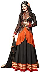 RADHE STUDIO Women's Georgette Unstitched Dress Material (QUEEN2-906_Black, Black)