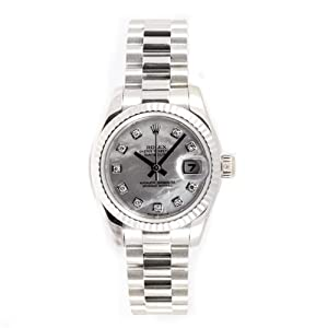 Rolex Ladys President New Style Heavy Band 18k White Gold Model 179179 Fluted Bezel Mother Of Pearl Diamond Dial