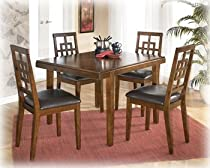 Big Sale Signature Design by Ashley Furniture D295-225 Cimeran Dining Room Table Set With One Dining Table, 4 Side Chairs, Chair Seat Upholstered In Brown PVC & In Medium Brown