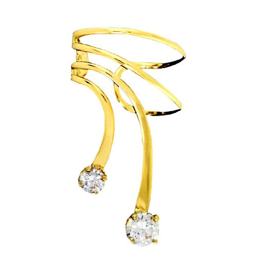 Left Only Gold Vermeil Small Large Cubic Zirconia Short Wave Ear Cuff