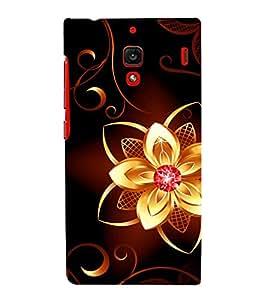 printtech Golden Flower Diamond Back Case Cover for Xiaomi Redmi 1S::Xiaomi Redmi (1st Gen)