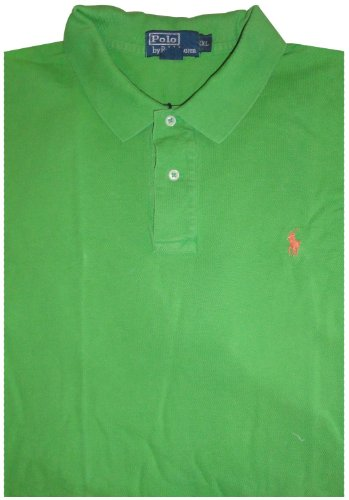 Men's Polo By Ralph Lauren Short Sleeve Polo Shirt Green with Orange Pony XXL