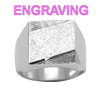 So Chic Jewels - 925 Sterling Silver Sparkle Effect Striated Square Signet Ring - Your Message Engraved Free