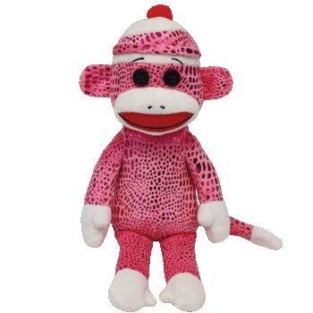 Ty Beanie Babies Sock Monkey Pink Sparkle Plush - 1