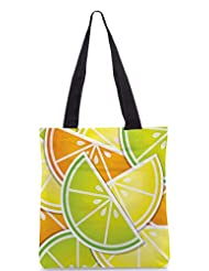 Snoogg Citrus Wedge Background Card In Vector Format Designer Poly Canvas Tote Bag